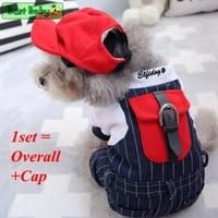 デニムジャンプスーツ服犬のための冬暖かいカバーオールでキャップ帽子セットs xxl少し中小子犬ペット猫オーバーオー