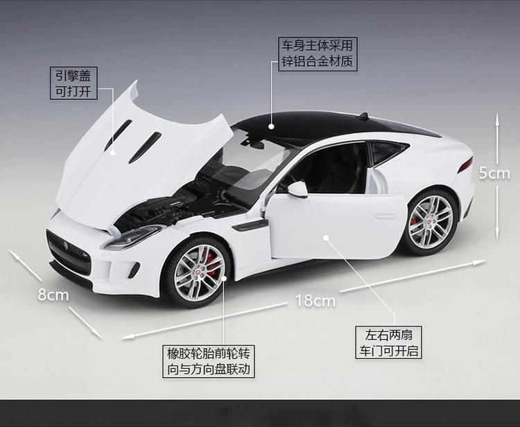 1 Classique Voiture Pression Coupe Welly Moulé 24 Garçons Jouet Sous Haute Jaguar Alliage Véhicule Modèle Type F Pour Simulation Métal PiZOkXu