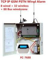 Металлическая коробка сигнализации TCP/IP GSM Сигнализация Проводной Системы Поддержка 8 проводных и 32 беспроводных зоны и 88 проводной шины зон
