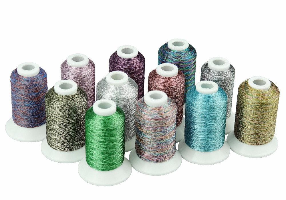 Simthread 12 different shades Metallic mixed thread for embroidery or sewing thread, melange/potpourri thread - special effect