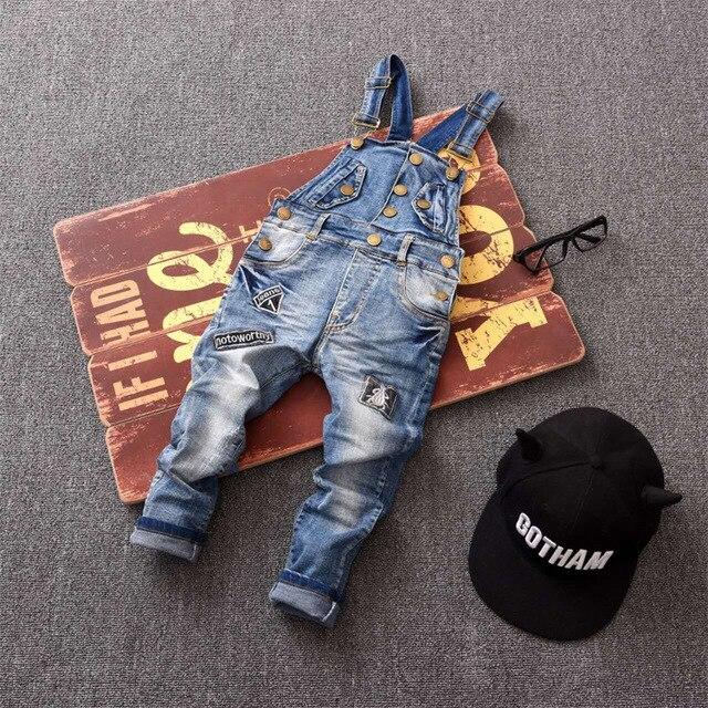 Классический весна осень детские комбинезоны детские мягкие джинсовые комбинезоны с нагрудниками брюки мальчик ИЛИ девочка джинсы повседневные брюки, Кнопка патч джинсы 2-7yr