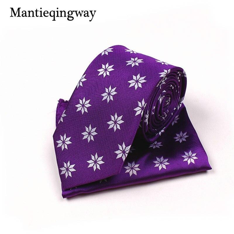 Modestil Mantieqingway Neue Ankünfte Mode Herren Polyester Lila 7 Cm Krawatte Taschentücher Set Hochzeit Krawatte Business Anzüge Hanky Bekleidung Zubehör