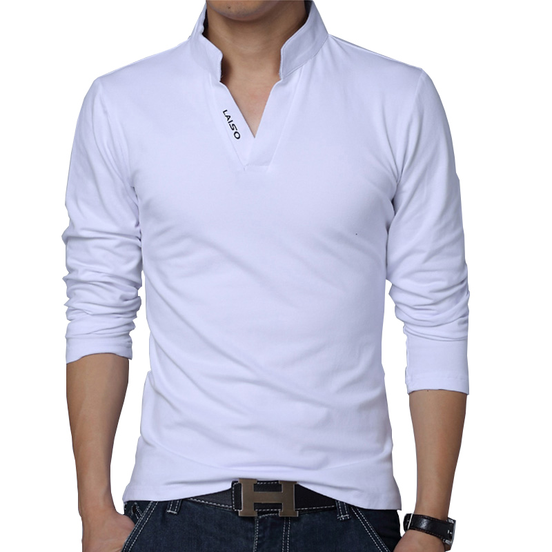 Tee Shirts Spring Mandarin-Collar Slim-Fit Long-Sleeve Solid-Color Men 5XL Cotton Top
