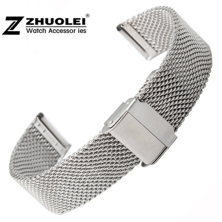 Watch band 22mm Silver Stainless Steel Mesh Watch Strap