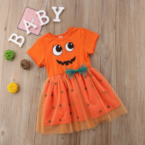 ebd943f32 2018 New Fashion Toddler Kid Girl Halloween Pumpkin Printed Dress ...