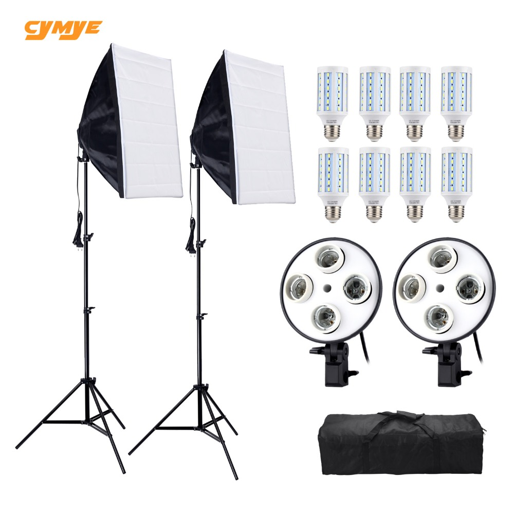 Cymye Photo Studio 8 LED 24w Softbox Kit Photographic Lighting Kit Camera & Photo Accessories Camera Photo