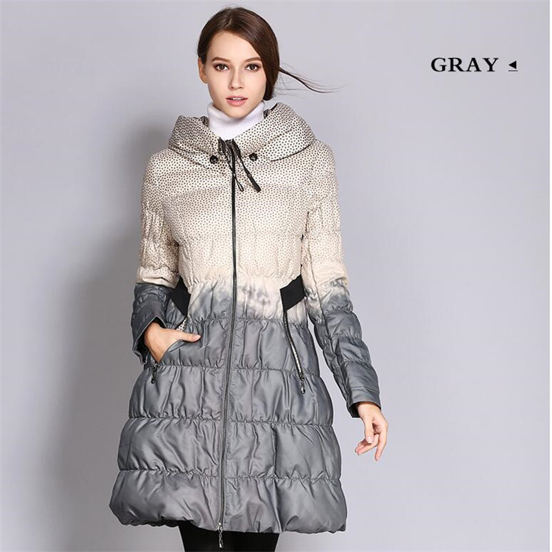 Thin Fashion Print Contrast Skirt Spring Down Jacket Women 2019 Fashion Print High Neck Cotton Jacket Coat   Parka   Chaqueta Mujer