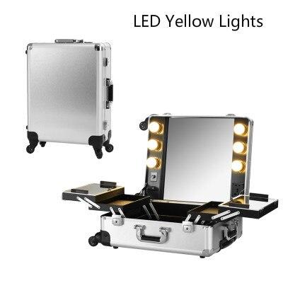 beleuchtung Make Roll Box Licht Kosmetische Maskenbildner up Casealuminum Led Studio Gelb Silber Zug Led HW7zfTw4zq