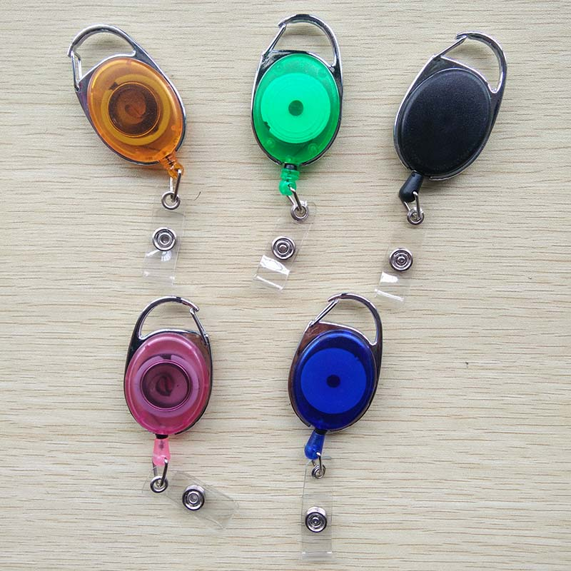 5 pcs/lot fashion Colorful Plastic Retractable Pull Key Ring Chain Reel ID Card Badge Holder Reel Belt Key Ring Clip ring linked chain embellished belt