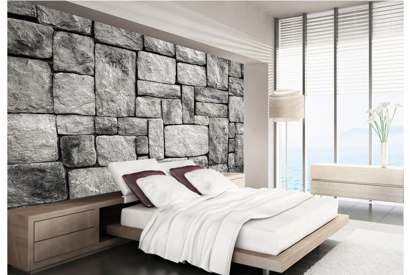 Freies Verschiffen 2015 Neue Benutzerdefinierte Vliestapete Einstellung Wand  Grau Stein Ziegel Wand 3d Mural Tapete Dekoration