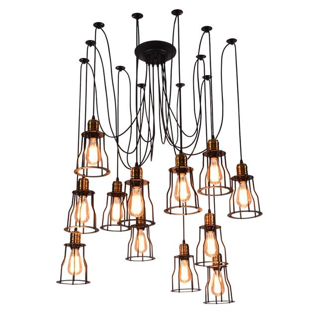 Retro  Edison Bulb Pendant Lights Vintage Loft Antique Adjustable DIY E27 Art Spider Pendant Lamp Home Lighting AC 110V-240V
