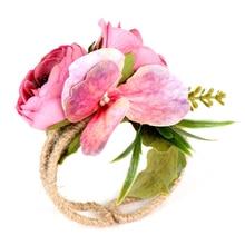 Свадебная подружка невесты, свадебная бутоньерка на запястье, Лесной корсаж, тканый соломенный Браслет-манжета для свадьбы, выпускного, аксессуары, цветы
