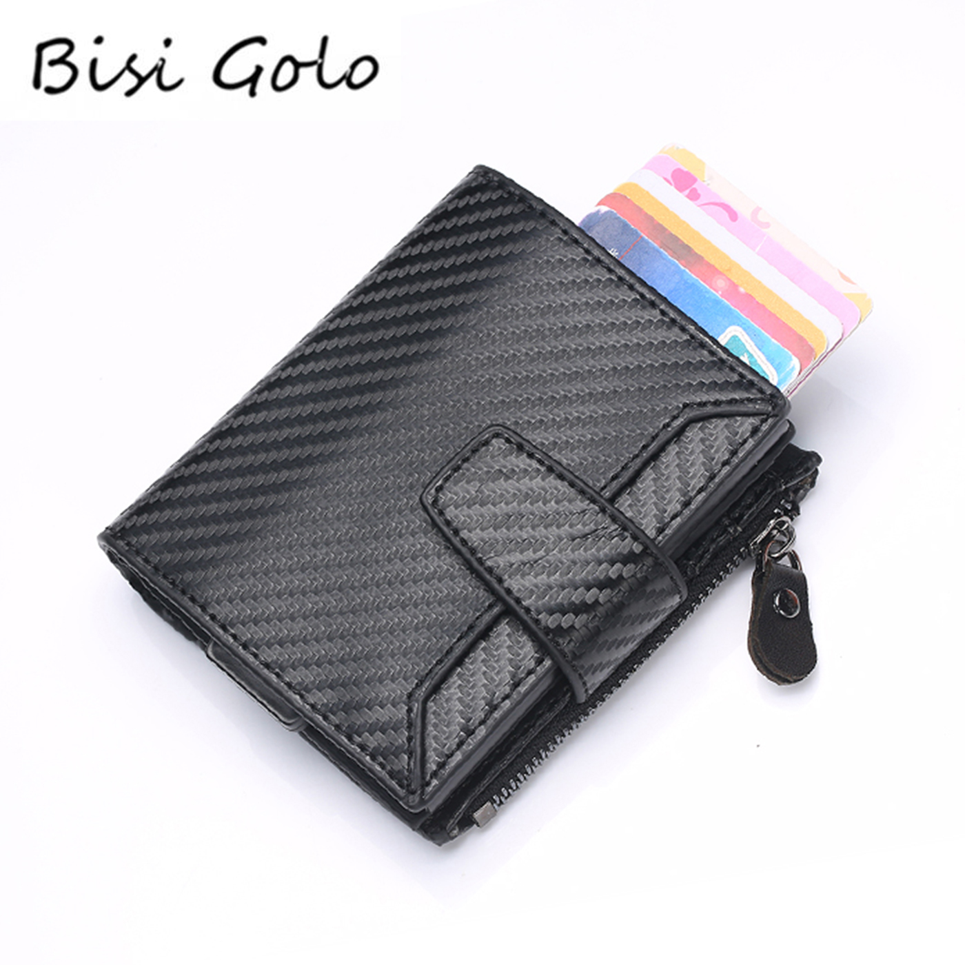 BISI GORO PU Leather Wallet Credit Card Holders Rfid Automatic Card Set Vintage Business Aluminum Wallet New Vintage Card Holder