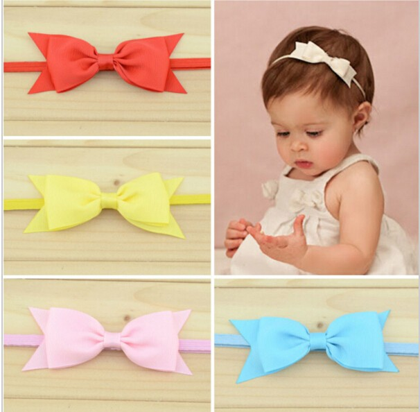 10pcs/lot Baby Cute Bow Satin Ribbn Worn Edges Hairbands Children Girls Hair Accessories Infant Headband Wholesale 16colors metting joura vintage bohemian green mixed color flower satin cross ethnic fabric elastic turban headband hair accessories