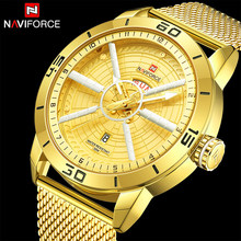 Naviforce Mens Watches Top Brand Luxury Gold Watch Men Steel Mesh Band Date Week Waterproof Quartz Watch For Men Reloj Hombre(China)