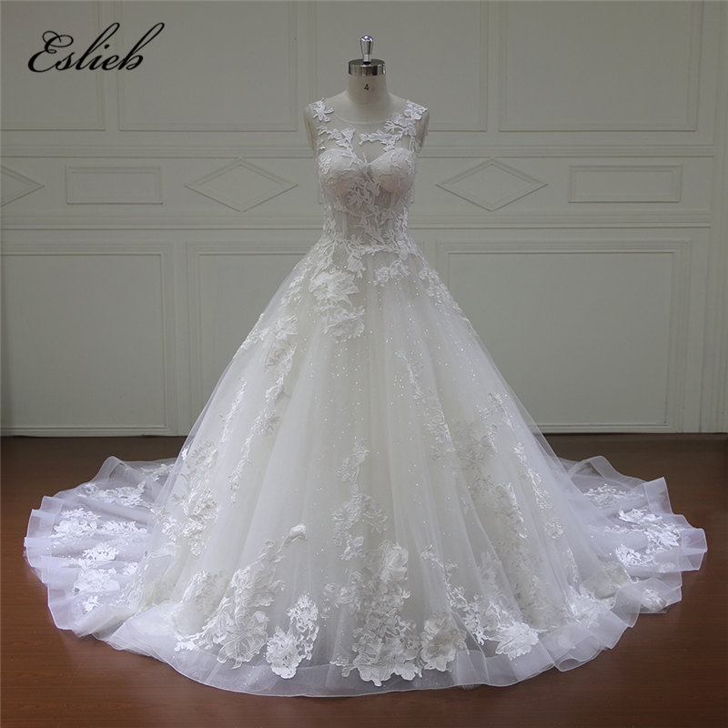 Eslieb Luxury Illusion Lace A Line Wedding Dress 2018 Gorgeous Cap Sleeves Court Train Vestido de Noiva Wedding Dresses