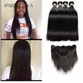 8A Ali Julia Hair With Closure Full Frontal Lace Closure 13x4 With Bundles  Peruvian Virgin Hair Straight With Closure