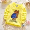 Nova chegada venda quente da moda primavera outono de algodão de manga longa camisa para crianças dos desenhos animados do bebê das meninas dos meninos t camisas crianças roupas