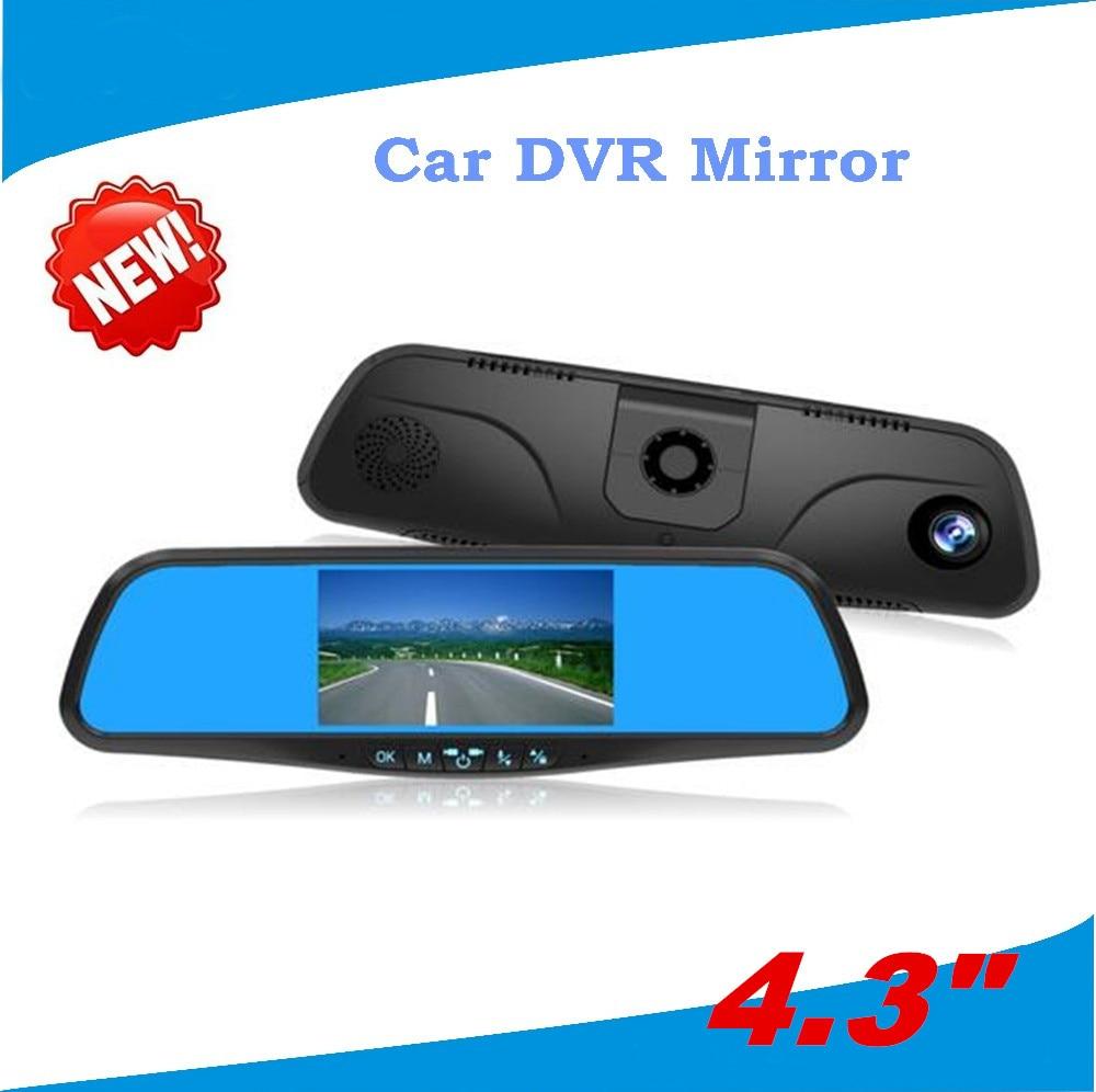 4.3 Dual lens camera car dvr rear view reversing mirror night vision Rear View camera built in G-Sensor Motion Detection