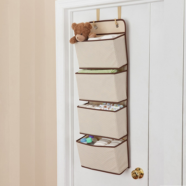 New 4Pockets Practical Wall Hanging Storage Bags Home Clothes Toys Organizer  Behind Door Sundries Wardrobe Container