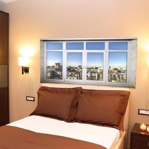 Image 2 - City Town Sence Bed Head Sticker Fake White Glass Window Wall Sticker Creative Arts Wall Stickers Art Wall Sticker Home Decor