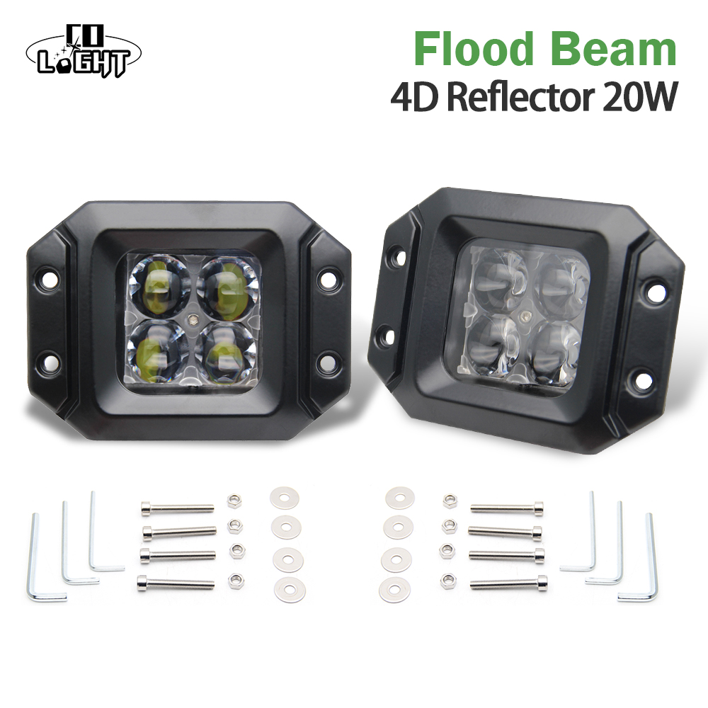 CO LIGHT 2 Pieces 20W LED Work Light Bar Flush Mount Cube Pods 4D Cup Spot/Flood Beam Offroad Driving for SUV ATV 4x4 4WD Jeep 4pcs 4d lens led work light bar 3x3 cube pods square spot flood beam offroad driving for suv atv 4x4 4wd truck motorcycle boat