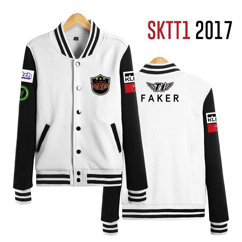 2017 SKTelecom T1 Mid Season Invitational Team Jersey SKT LOL Jacket Champions SKT T1 SKT1 Jacket Peanut Faker Baseball Coat