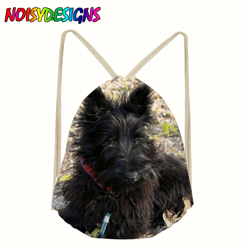 Scotty Dogs Drawstring Bag Beach Women Men Travel Storage Package Teenagers Backpack Sac Femme Dog Pattern Draw String Bags