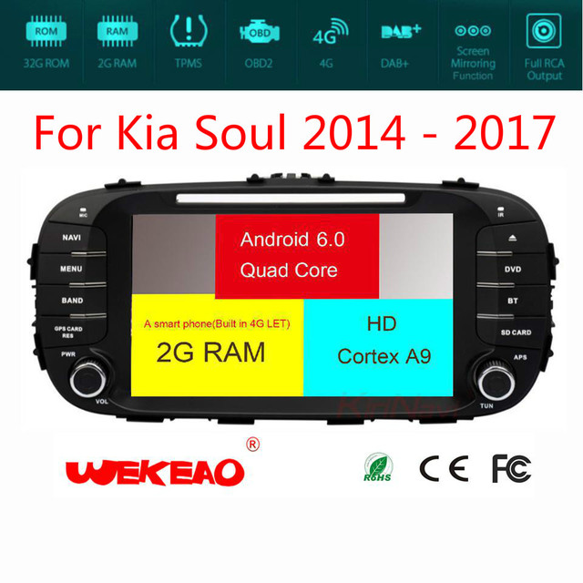 Wekeao Extravagant Touch Screen Car Navigation Player For Kia Soul 2014-2017 Support DVD/CD Play Android 7 With 4G Octa Core