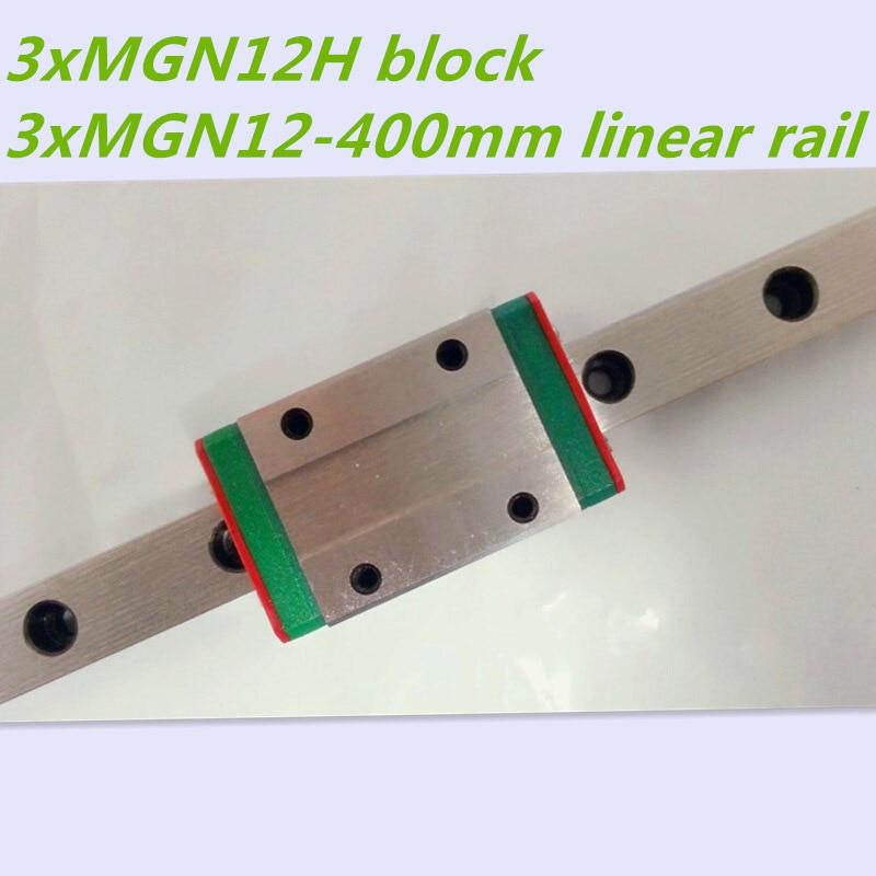 Kossel Mini MGN12 12mm miniature linear rail slide = 3pcs 12mm L-400mm rail+3pcs MGN12H carriage for X Y Z axis