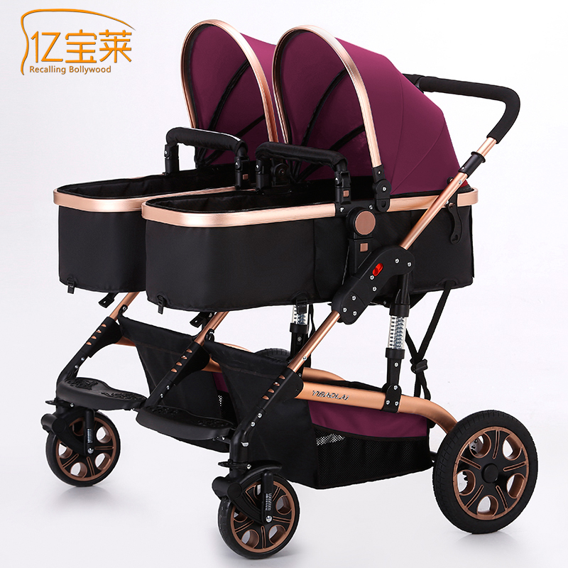 Side by side twins stroller  can sit can be lying high landscape two baby stroller brand EU big baby strollers twin холодильник side by side samsung rs552nrua9m