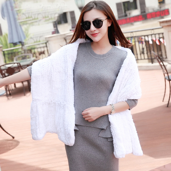Long Real Rex Rabbit Fur knitting Scarf Neck Warmer Scarves Shawl Poncho Stole great christmas gift White Grey Brown Black