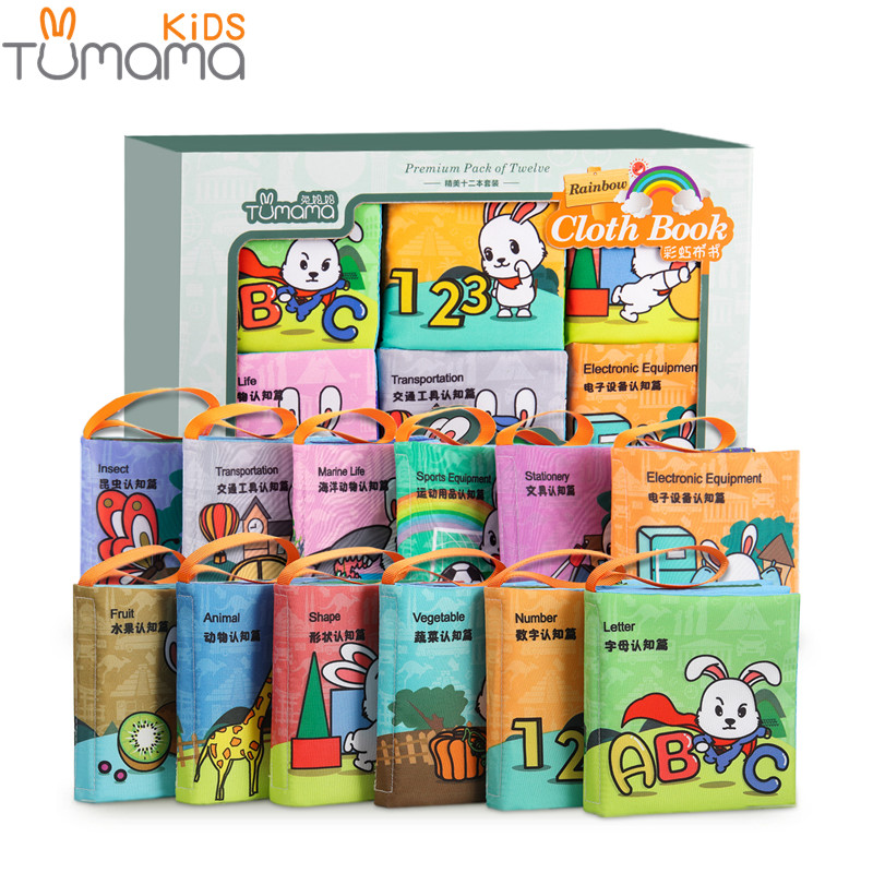 Tumama 12pcs Baby Toys Cloth Books Letter Number Infant Educational Stroller Rattle Toy Newborn Crib Bed Baby Toys 0-36 Months