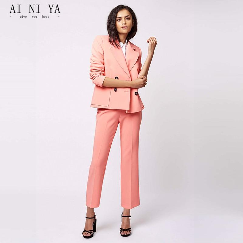 Bureau Costumes Blazer Uniforme D'affaires Pantalon Formelle Droit Choose Color Pièce 2 Smoking Dames Rose Picture As same Femmes Femme Chart wfqOXt5