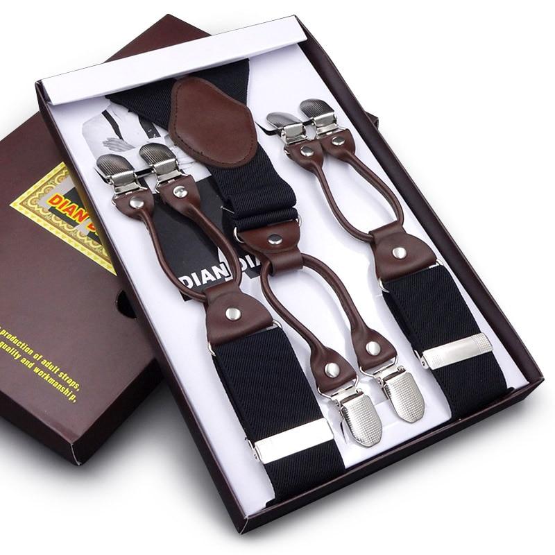 Men Elasticity Suspenders Fashion Men Adjustable Business Western Style Trousers Alloy 6Clips Braces Pants Strap 3.5 Width