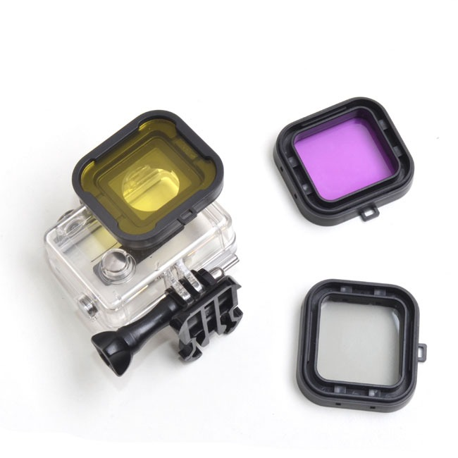 Purple Red Gray Yellow filter 4pcs/lot Lens Filter Diving Filter Gopro HERO 3+ 4 Camera Housing Case Underwater Lens Converter 7
