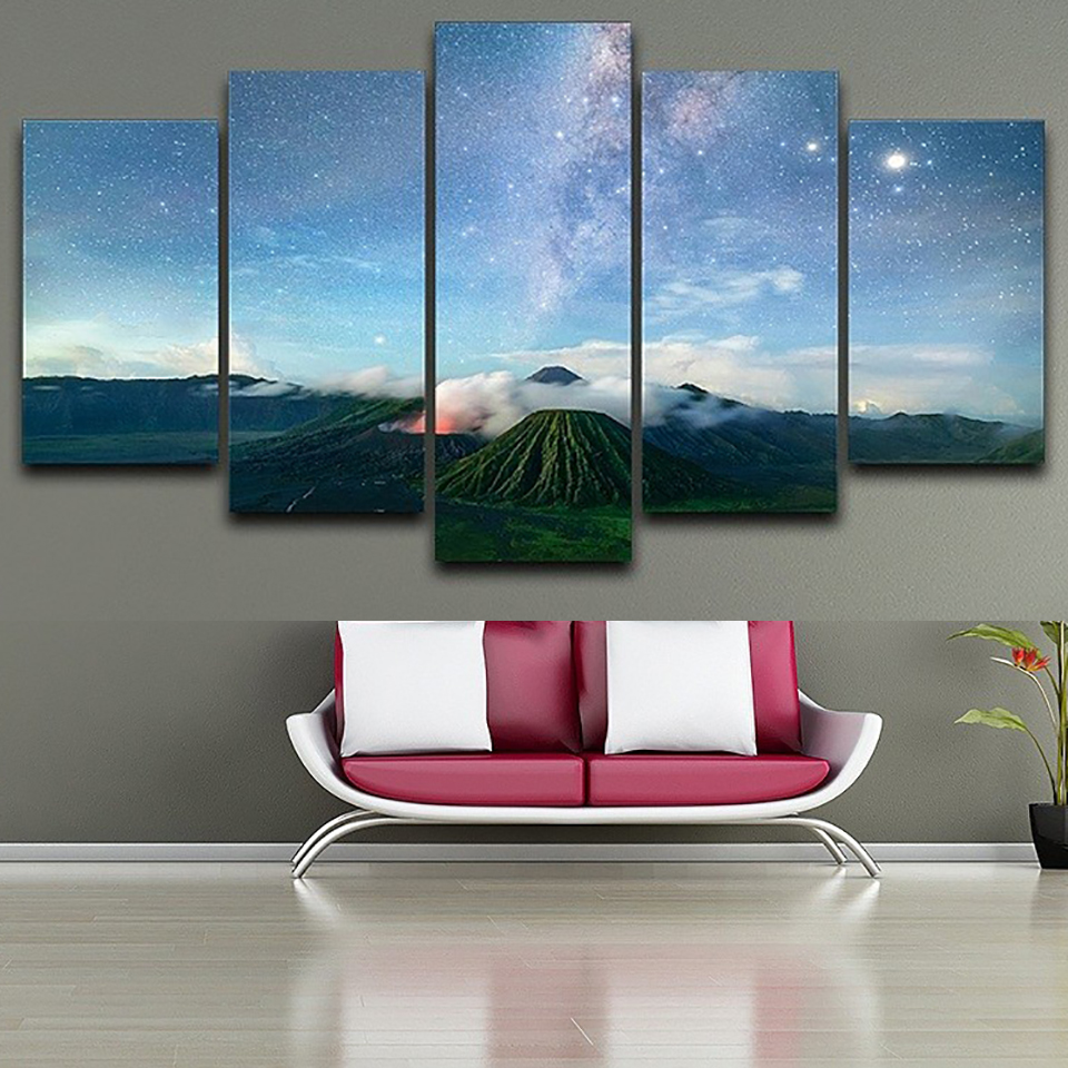 HD Frame Printed Pictures Home Decor Canvas 5 Panel Starry Sky ...