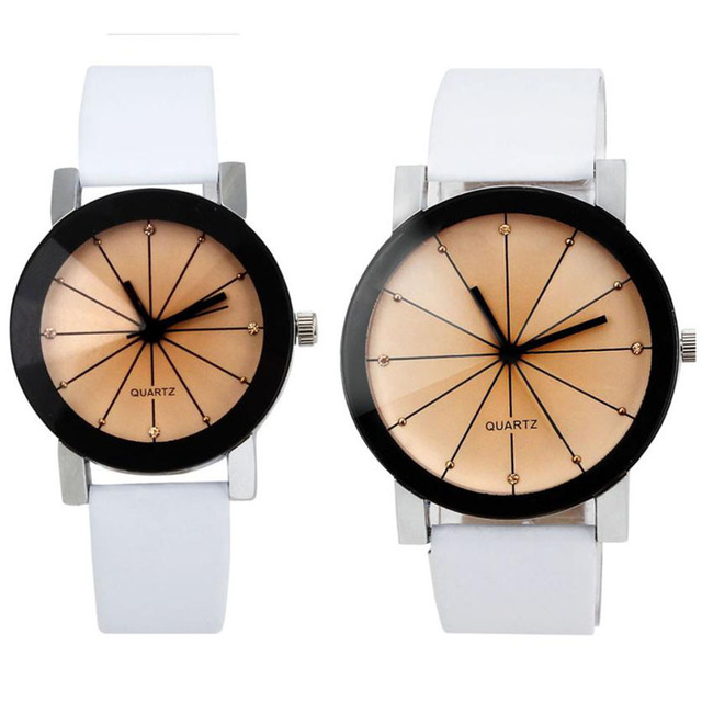 1 Pair Fashion Lovers Quartz Watch Men Women Wristwatch Female Male Clock Dial C