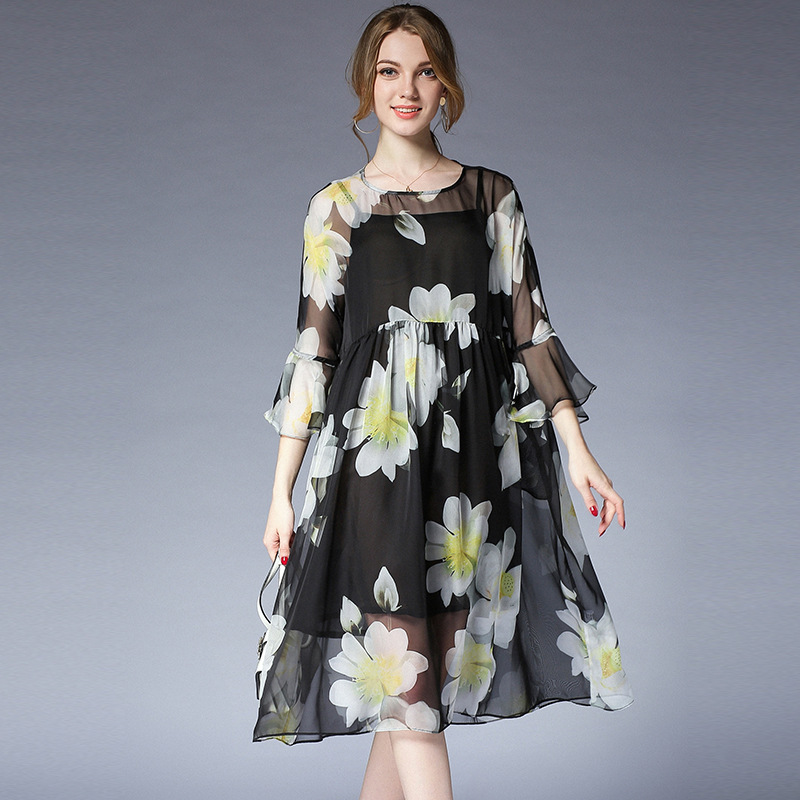 b4050fa89e1 Более Размеры с цветочным рисунком шифоновое платье для женщин  Большие  размеры с рукавами-колокол