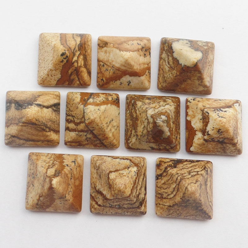 Free Shipping!(10Pcs/lot) Wholesale 10Pcs Faceted Picture Stone Square CAB CABOCHON 13x8mm SHX53