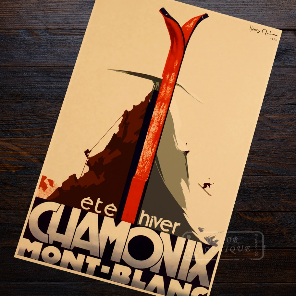 Skiing Poster Chamonix France Art Skiing Trip Travel Retro Vintage ...
