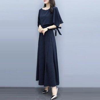 Conjunto de dos piezas mujer capa manga murciélago blusa y alta espera pantalones de pierna ancha conjuntos 2019 nuevo verano elegante rayado pantalones de traje