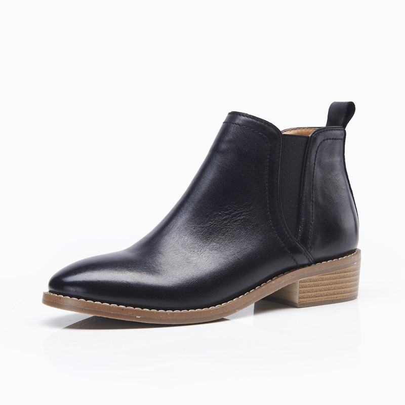 Fashion Leather Ankle Women Boots Genuine Leather Slip On Black Chelsea Boots For Women Brand Casual Flats Shoes elastic band women genuine leather ankle boots chelsea hand made shoes motorcycle coincise fashion black matte women s boots