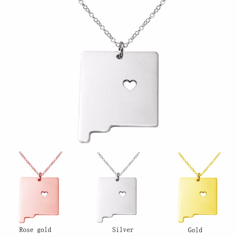 3 color New Mexico State map Charm Pendant Necklace Necklaces Heart Statement Necklace jewelry accessories for women