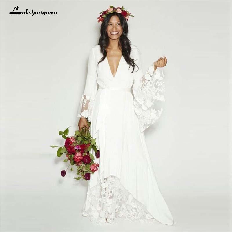 US $126.0 25% OFF|Simple Bohemian Long Sleeves Deep V Neck Hippie Beach  Wedding Gown Plus Size Wedding Dresses-in Wedding Dresses from Weddings &  ...