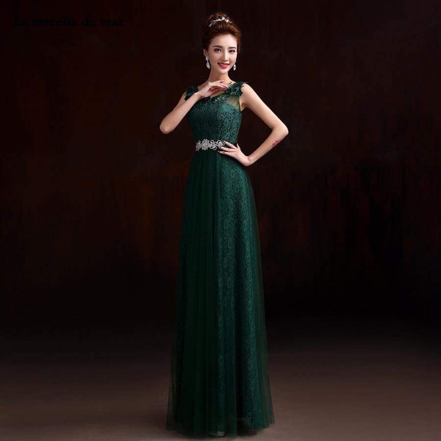 La estrella de mar vestido de festa longo cheap Scoop neck lace diamond belt a Line dark green   bridesmaid     dress   plus size