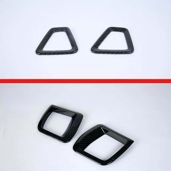 For Volvo <font><b>XC60</b></font> <font><b>Carbon</b></font> Fiber Style Air Vent Outlet Cover Dashboard Trim Bezel Frame Molding Garnish Accent Styling image