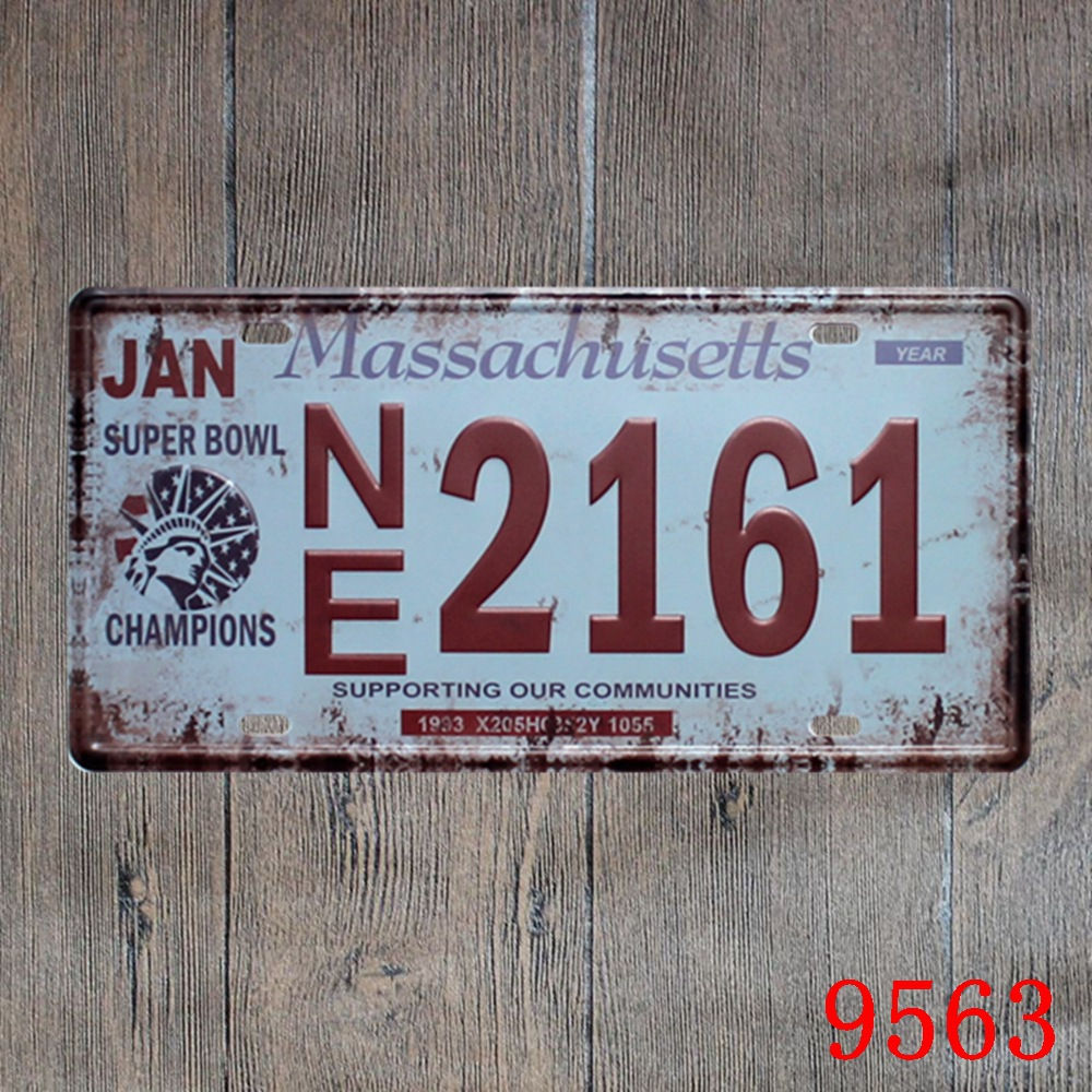 Car number  Massachusetts NE 2161  License Plates plate Vintage Metal tin sign Wall art craft painting 15x30cm