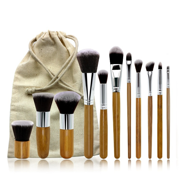 11Pcs Set Makeup Brushes Cosmetics Tools Natural Bamboo Handle Foundation Blending Brush Tool Cosmetic Kits sx28 5pcs set metal handle makeup brushes set cosmetics brushes blending makeup brush
