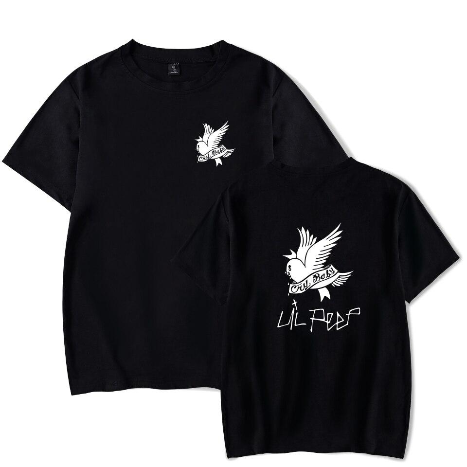 Camisetas manga corta negra cuello redondo algodón verano Camisetas Punk Rock Hip Hop camiseta Lil Peep